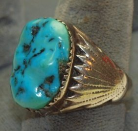 Mens Sterling Silver And Turquoise Ring Signed Rbl