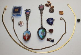 Lot Of Service Pins, Watch Chain, Souvenier Spoons