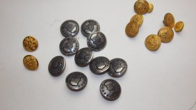 Lot Of Military Uniform Buttons Including West Point