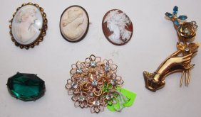 Lot Of 6 Cameo & Brooches: Coro, Kramer, Czech