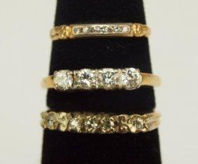 14k Yellow Gold Lot Of 3 Diamond Wedding Bands, 6.2g