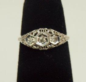 14k White Gold Antique Diamond Filagree Ring