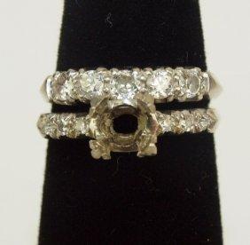 Platinum & Diamond Wedding Ring Set, No Center Stone,
