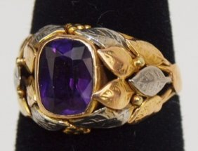 Antique Tri-color Gold And Amethyst Ring