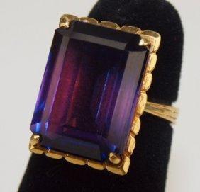 14k Yellow Gold Antique Amethyst Ring