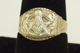 14k White Gold Masonic Ring, 9.1g