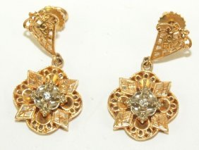 14k Yellow Gold And Diamond Pair Earrings