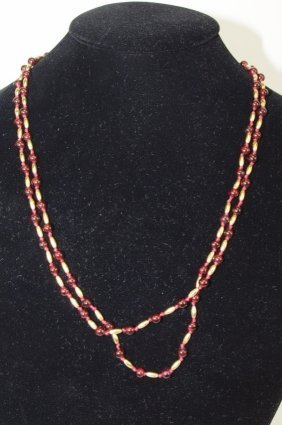 Red Pearl And Gold Beaded Necklace
