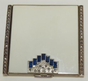 Art Deco Compact With Sapphires And Rhinestones