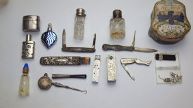 Sterling Silver And Other Assorted Perfume Bottles,
