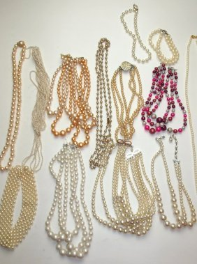 Lot Of Pearl Necklaces