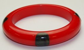 Bakelite Red Bangle Bracelet With Green Marbelized