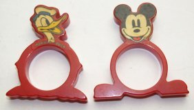 Bakelite Red Donald Duck, And Mickey Mouse Napkin Rings
