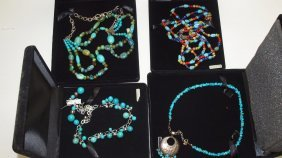 Sterling Silver And Turquoise Southwest Lot Of 4