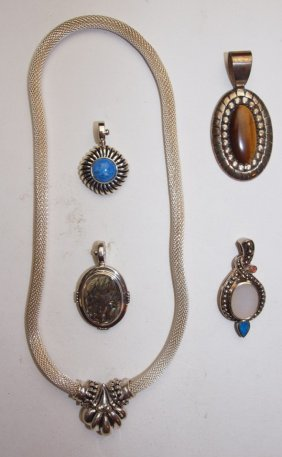 Sterling Silver Necklace And 4 Pendants