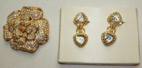 Nolan Miller Brooch And Pair Of Earrings