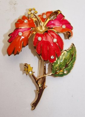 Jose Maria Barrera Large Flower Brooch Pin
