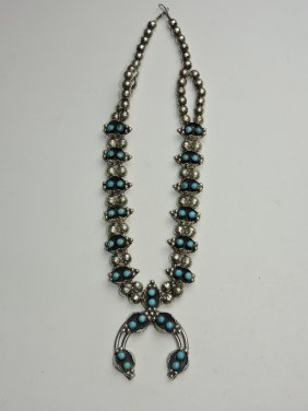 Navajo American Indian Silver & Turquoise Necklace