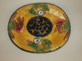 Majolica Morning Glory & Bird Platter