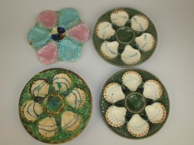 Majolica Lot Of 4 Oyster Plates, Various Conditions