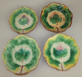 "Majolica Lot Of 4 Leaf Bowls, 8"" To 9 1/2"""
