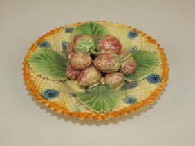 """Palissy Style Majolica Plate Of Strawberries, 5 1/2"""""""