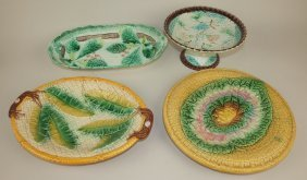 Majolica Lot Of 4 Platters & Compote, Various