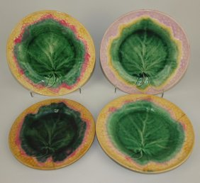 Etruscan Majolica Maple Leaf On Basket Lot Of 4 Plates,