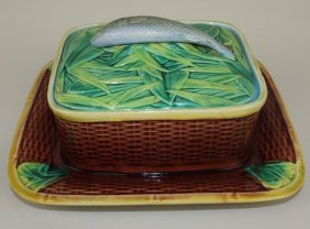 George Jones Majolica Basketweave Sardine Box, Repair
