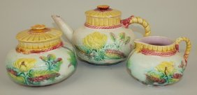 Majolica Samuel Lear Water Lily 3 Pc Teaset, Various