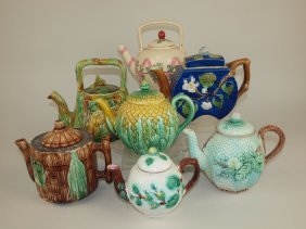Majolica Lot Of 7 Teapots, Various Conditions