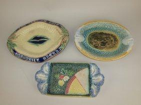 Majolica Lot Of 3 Platters