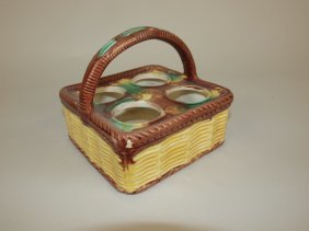 Majolica Basketweave Egg Basket
