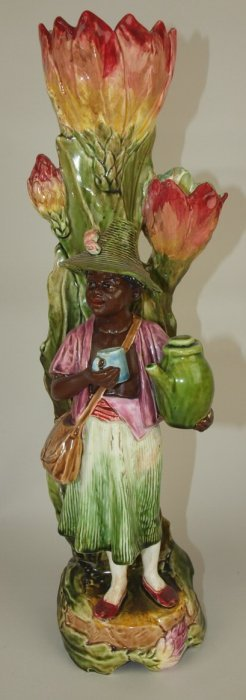 Majolica Blackmour Figural Vase, Repair To Figure And