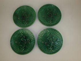 "Sarreguemines Majolica Set Of 4 - 8 1/4"" Dark Green"