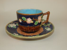 George Jones Cobalt Majolica Apple Blossom Cup