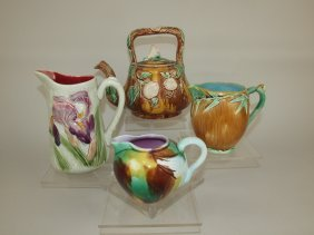 Majolica Lot Of 4 Items: Morning Glory Tea Kettle,