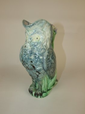Majolica Figural Owl Pitcher 9""
