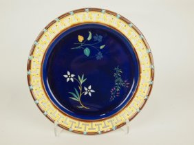 Wedgwood Majolica Cobalt Botanical Plate With
