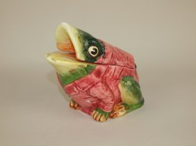 Majolica Crouching Frog With Red Smoking Jacket Figural