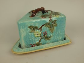 Majolica Wedge Shape Cheese Keeper With Vine & Floral