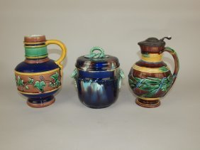 Wedgwood Majolica Lot Of 2 Pitchers And One Covered Jar