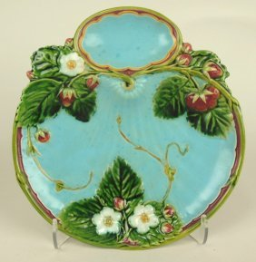 Minton Majolica Turquoise Strawberry Plate, 8 1/4""