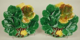 Majolica Pair Fo Overlapping Maple Leaf Plates, 9""