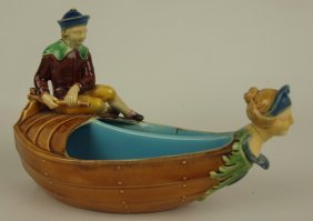 Minton Majolica Two Part Figural Boat Spoon Warmer 6