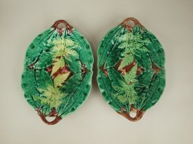 Majolica Paif Of Leaf And Fern Platters, 12""