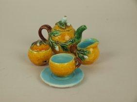 Menton Majolica Miniature Teaset: Teapot, Creamer,
