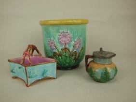 Majolica Group: Cache Pot, Basket, & Syrup Pitcher,