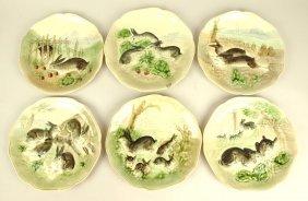 Choisy Le Roi Set Of 6 French Majolica Rabbit Plates, 8