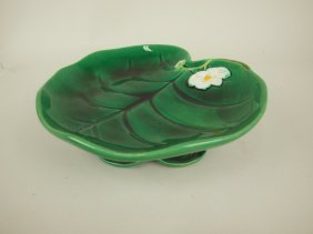 George Jones Majolica Pond Lily Compote, 8 3/4""